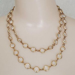 Austria USA Crystal Clear Glass Opera Necklace